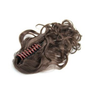 Ponytail Extensions with hair claw, Curly - brun #4