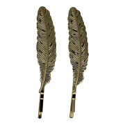 SOHO® Feather Bobby Pin, Haarnadeln 2 Stck. - Gold