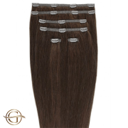 Clip on hair extensions #33 Copper brown - 7 pieces - 60 cm   Gold24