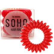 SOHO® Spiral Hair Ring Elastics, Haargummis Strawberry Red - 3 Stck.